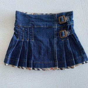 Authentic Burberry Denim Pleated Skirt